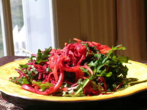 Raw Beet and Kale Salad with a Ginger Vinaigrette